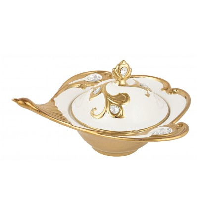 Diwali Gift Box Ideas Gold and White Bone China Decorative Salad Bowl, 1-Piece, 500 ml, 30 cm