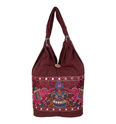 Womaniya Girl's Cotton Handicraft Jhola Canvas Hand Bag Medium Brown B01BU0LJ8K