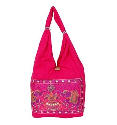 Womaniya Girl's Cotton Handicraft Jhola Canvas Hand Bag Medium Pink B01BU0LRG4
