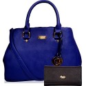CATHY LONDON Girl's Cotton Hand Bag & Wallet Combo Medium Blue B01FUBCFM4