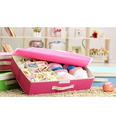 15+1 Compartment Cell Foldable Storage Box Type Non-Smell Drawer Organizer- Pink