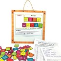 MFM TOYS Read it! Build it! Write it! ~ Magnetic Word Builder ~ Tiles With Magnetic Board (96 Magnets)