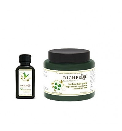 Richfeel Brahmi Hair Pack 500G And Aloevera Shampoo 100Ml