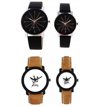 Om Designer Analogue Black & White Dial Men's & Women's Couple Watch -Cry-King-Couple1