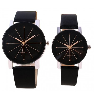 Om Designer Crystle Glass Round Shaped Black Dial Leather Belt Analogue Couple Watch- Latest Edition-Den-1