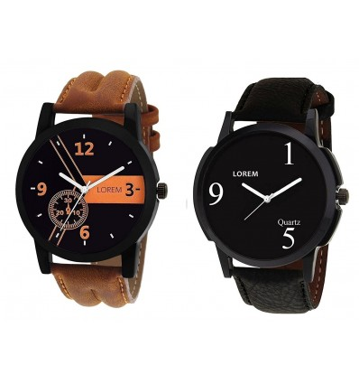 Om Designer Analogue Black Dial Men's & Boy's Watch Leather Strap Combo Pack of 2