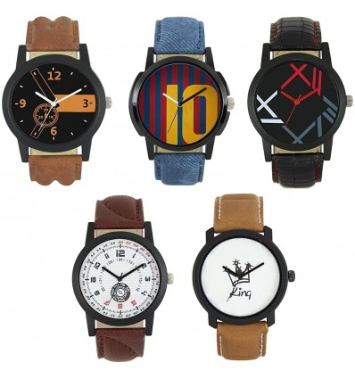 OM DESIGNER Multicolor Dial And Leather Belt Stylist New Design Wrist Analogue Watch Combo -For Men's And Boy's (Pack of 5)