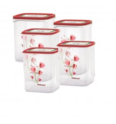 Chefware Kitchen Containers set of 5 pcs Red Color |Air tight Containers | Modular Containers | 100% Food Grade Plastic