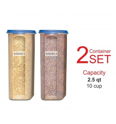 Food Storage Containers -STACKO 4 Airtight Dry Food Container with Lids 2 Containers 2.5 qt. 10 Cups