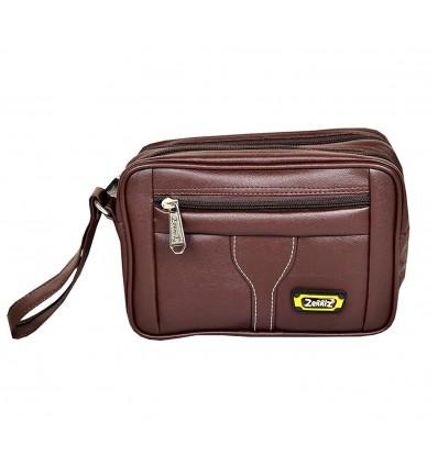 Zenniz Messenger Bags Leather for Mens Organiser (Brown)