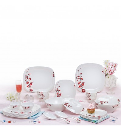 Cello Melamine Marvella 31 Pcs.Sq. Round Dinner Set-Crimson Bliss