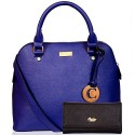CATHY LONDON Girl's Cotton Hand Bag & Wallet Combo Medium Blue B01FUBCQ6E