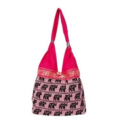 Womaniya Women's Canvas Handicraft Jhola Bag Shoulder Bag 32 Cm x 32 Cm x 10 Cm Pink